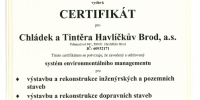 Certifikát systému environmentálního managementu dle ČSN EN ISO 14001:2005