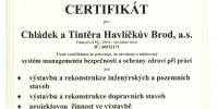 Certifikát systému managementu bezpečnosti a ochrany zdraví při práce dle ČSN OHSAS 18001:2008