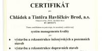 Certifikát systému managementu kvality dle ČSN EN ISO 9001:2009